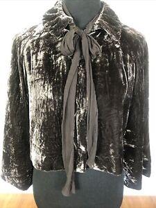 Saks Fifth Avenue VTG Sz M/L Cropped Velvet Jacket Silk Lined Snap Front Brown