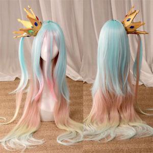 No Game No Life Shiro Cosplay Wig Colorful Hair Women Girls Crown Cosplay Props