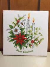 """Vintage Mid Century Merry Christmas Poinsettia Tile Trivet 6"""" Made In Brazil"""