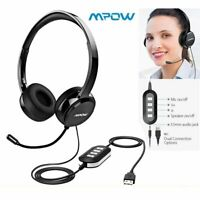 Mpow 3.5mm USB Headset Wired Computer Headphones w/ Microphone Noise Cancelling