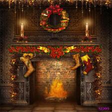10X10Ft Rustic Christmas Fireplace Wreath Background Backdrop Photography Studio