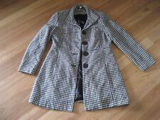 LADIES CUTE  BLACK & WHITE LINED LONG SLEEVE POLYESTER COAT BY KATIES - SIZE 12