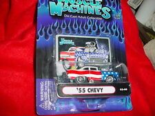 MUSCLE MACHINES '55 CHEVY RED WHITE & BLUE 02-74 MIP FREE USA SHIPPING