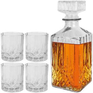 5tlg Whisky Karaffe 4 Gläser Set Glas Dekanter Flasche Likör Glaskaraffe Whiskey