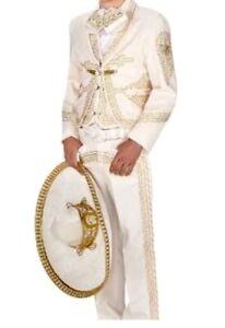 Beige Gold Men's Mariachi Charro Suit Set Mexico Folklorico Fiesta Dance Costume