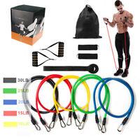 11tlg Fitnessbänder Expander Fitness Zugseil Set Gymnastikband Yoga Latexband DE