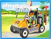 Playmobil 6636 Zoofahrzeug Tierpfleger Gras Besen Rechen Blasrohr Batterie NEU
