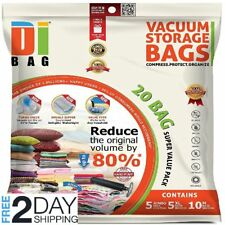 20 Storage Vacuum Bags Space Saver Seal Bag Clothes Organizer Travel Jumbo Large