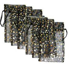 6 Pakdecorative Organza Gift Jewelry Pouches Black Withgold Stars