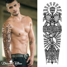 REALISTIC TEMPORARY TATTOO SLEEVE, ARM, ANGEL, HEAVEN, SUN, BLACK, MENS, WOMENS
