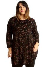 New Womens Plus Size Top Ladies Polka Dot Swing Tunic Spot Print Multicolored