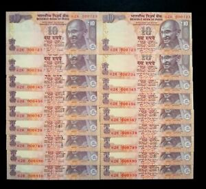 2013/2015 India 10 Rupees Low Serial Ladder Twins Number Set of 18 notes UNC