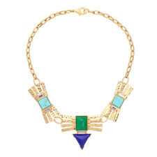 NEW Anthropologie Heavy Egyptian Teal Blue Green Beaded Gold Plated Necklace