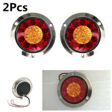 Pair 16-LED 12V Round Tail/Back-up Reverse/Turn Signal Lights For Car Trailer RV