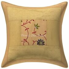 Indian Brocade Patchwork Polydupion Cushion Cover Gold 16x16 Floral Pillowcase
