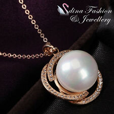 18K Rose Gold Plated Gorgeous Round Simulated Mother Of Pearl Necklace
