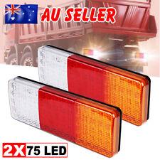 2x LED Tail Lights Brake Reverse Trailer 75LED Truck UTE Caravan ADR Approve 12V
