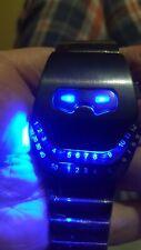 Unusual gun metal Retro blue LED watch. Binary, cool spaceage retro vintage?