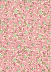 Vintage Liberty Tana Lawn Cotton Fabric Small Mint Green Flowers Pink Leaves
