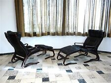 1of2 KENGU Leather Lounge Chair Ottoman SOLHEIM Leder Sessel RYKKEN Norway 1960s