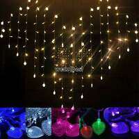 3M 128LED String Heart Shape Light Fairy Christmas Xmas Wedding Curtain Lamp