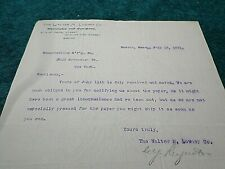 1891 Old Letter: Walter M. Lowney Chocolate Co. Boston, Signed by V.P. Reynolds