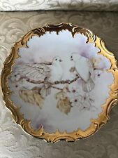 White Doves with Heavy Gold Trim Vintage Plate