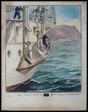"""Dessin original de Gaston SMIT illustration livre """"A travers le pacifique"""" 1931"""
