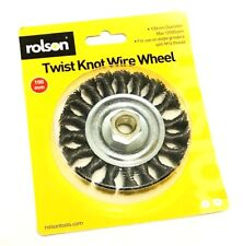 ROLSON Twist Knot Wire Wheel 100mm M14 Thread Angle Grinders 12500rpm .