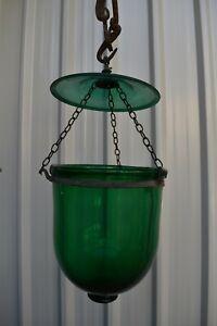 "Antique Belgian Lamp Georgian Bell Jar Hanging Lantern Huundi Pendant Light ""1"