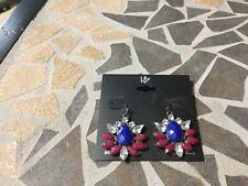 Lane Bryant Earrings Blue Red Rhinestone Dangle.  NWT