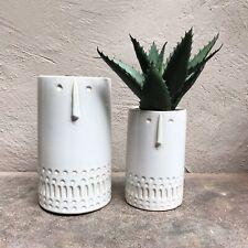 1 x Off White Large Tall Ceramic Round Face Head Plant Pot Vase Gisela Graham