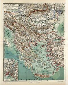 1895 BALKANS GREECE TURKEY BOSNIA MONTENEGRO BULGARIA SERBIA ROMANIA CRETE Map