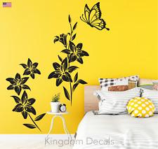 Butterfly Flowers Fridge kitchen Bedroom Wall Art Vinyl Decal Sticker Removable