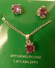 EFFY STERLING SILVER PURPLE TOPAZ NECKLACE AND STUD EARINGS SET-3.00 TCW