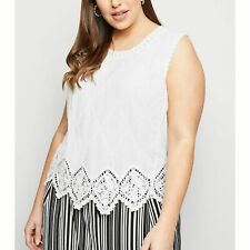 New Look Curves Off White Crochet Top