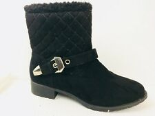 Avon Cushion Walk Ankle Boots Womens 8 Med Quilted Faux Suede Black Winter Zip