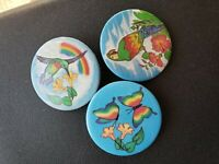 Vintage Collectible Pin Back Buttons Lot of 9 Tropical Birds, Butterfly, Flowers
