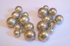 earrings bead design 7 cm long Lovely dangle style silver tone metal