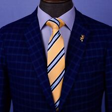 "Yellow & Blue Striped Tie Mens Blue Sexy Fashion Business Fashion 3"" Necktie"