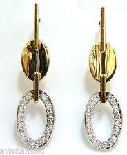 .40CT DIAMONDS DANGLE EARRINGS 14KT TWO TONED F/VS MIRROR FINISH+