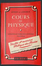 DEVORE - COURS DE PHYSIQUE - UNITES DE MESURES STATIQUE DES FLUIDES - MATH SPE