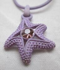 """Lilac Purple Lavender Star Fish Rhinestone Pendant Necklace 19"""" Chain"""