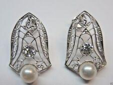 Antique European Diamond Pearl Earrings Platinum EGL USA Art Deco Vintage Fine