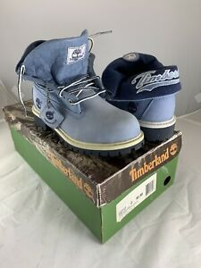 Timberland Youth Us 2 Boots Script Roll Top Blue Leather 22717 Casual Waterproof