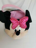 "Disney Minnie Mouse Head Plush Basket Easter Halloween Pail 9"" Deep 8"" Wide"