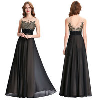 New Womens Black Chiffon Formal Evening Cocktail Long Prom Dress Bridesmaid Ball