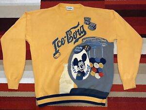ICEBERG HISTORY SWEATER MICKEY MOUSE  DISNEY SZ  XL ITALY COLORFUL 1991 VINTAGE