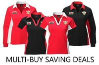 NEW WOMEN'S WALES WELSH CYMRU AM BYTH 6 NATIONS CONTRAST COLLARED RUGBY SHIRT