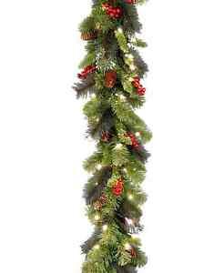 NATIONAL TREE 9 FT PRE LIT CRESTWOOD SPRUCE GARLAND PINE CONES BERRIES